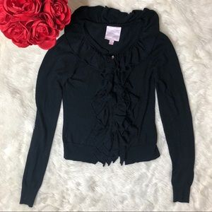 Romeo & Juliet Couture Black Ruffle Zip Cardigan